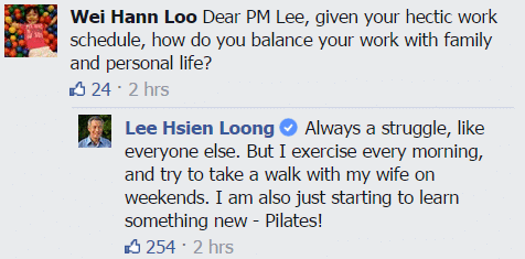 Singapore PM Lee Hsien Loong started Pilates